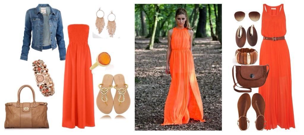 оранжевое платье в пол сеты