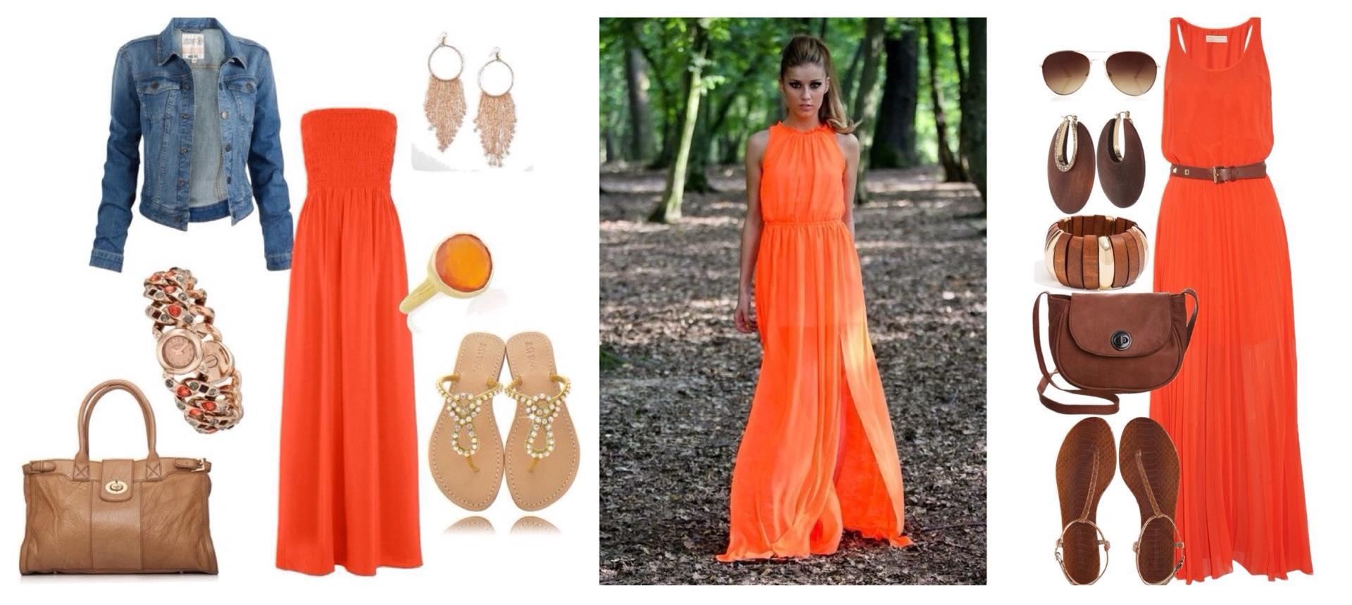 Оранжевое платье аксессуары к нему