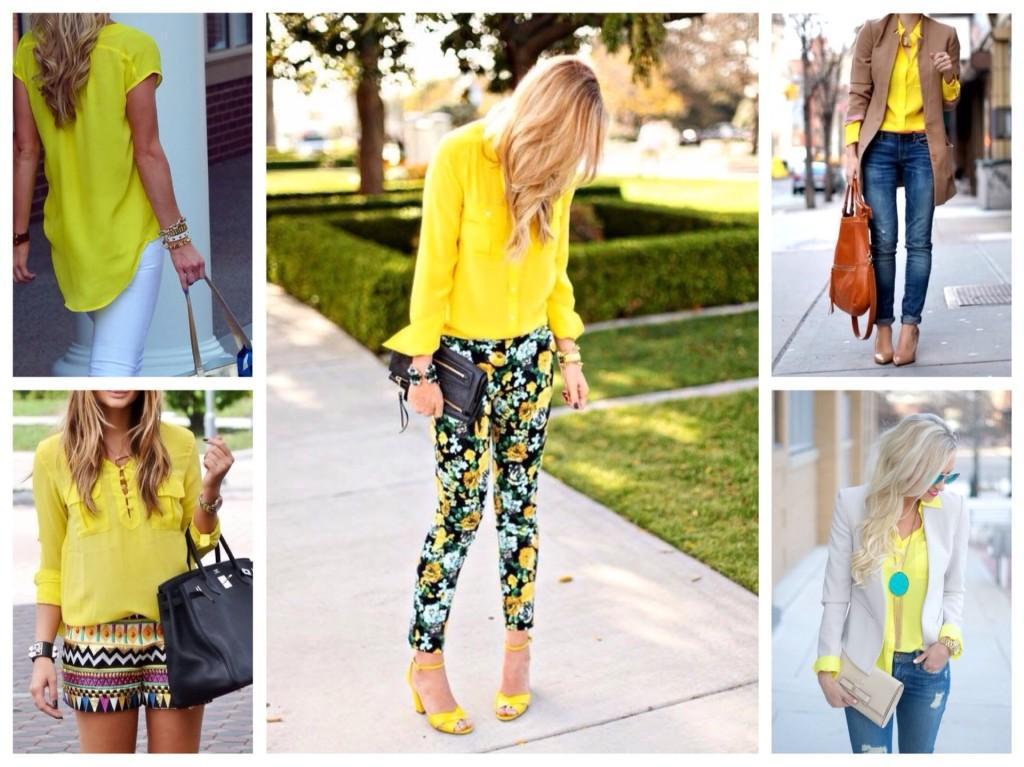 желтые блузки и рубашки