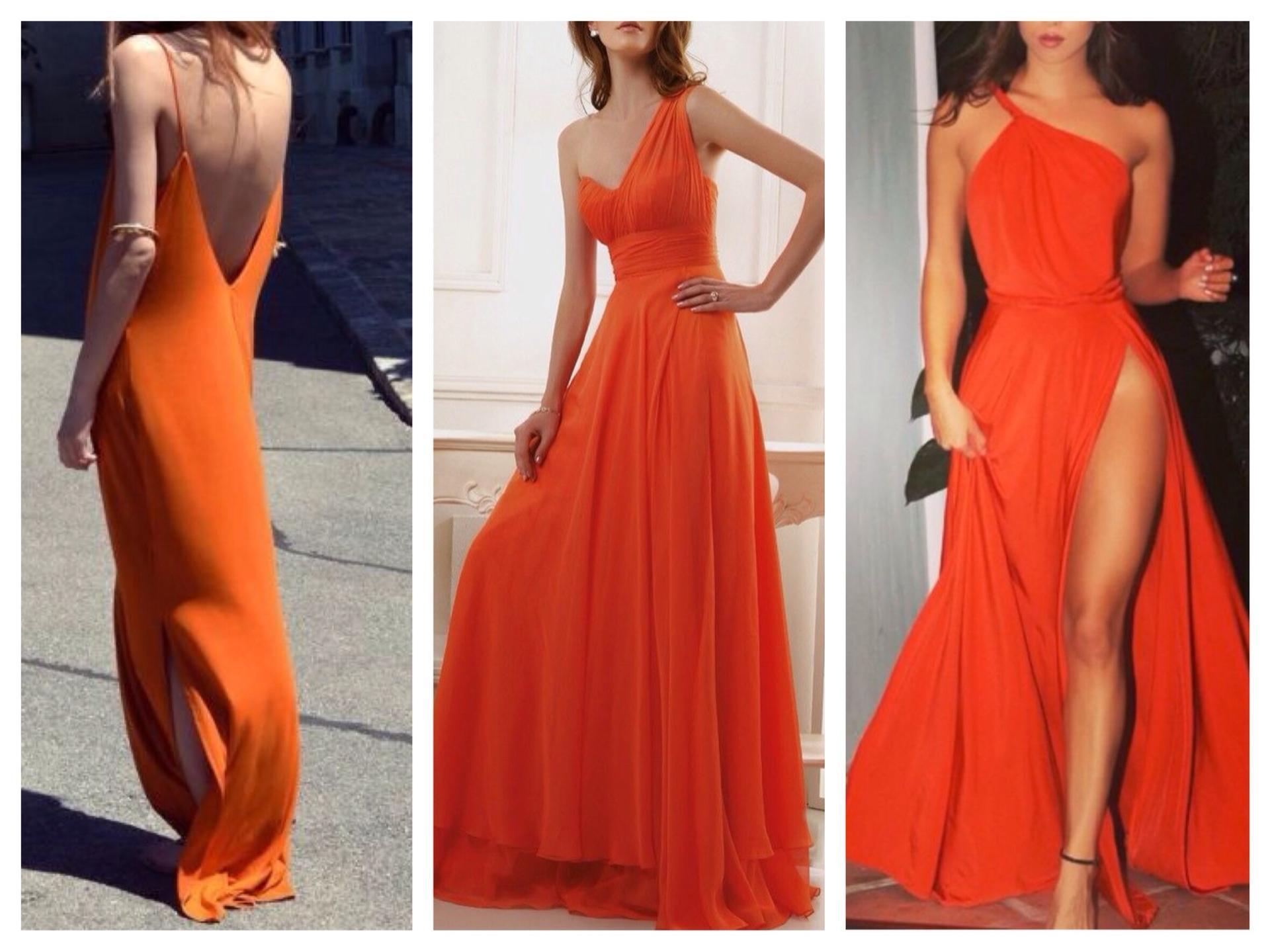 Модель оранжевого платья