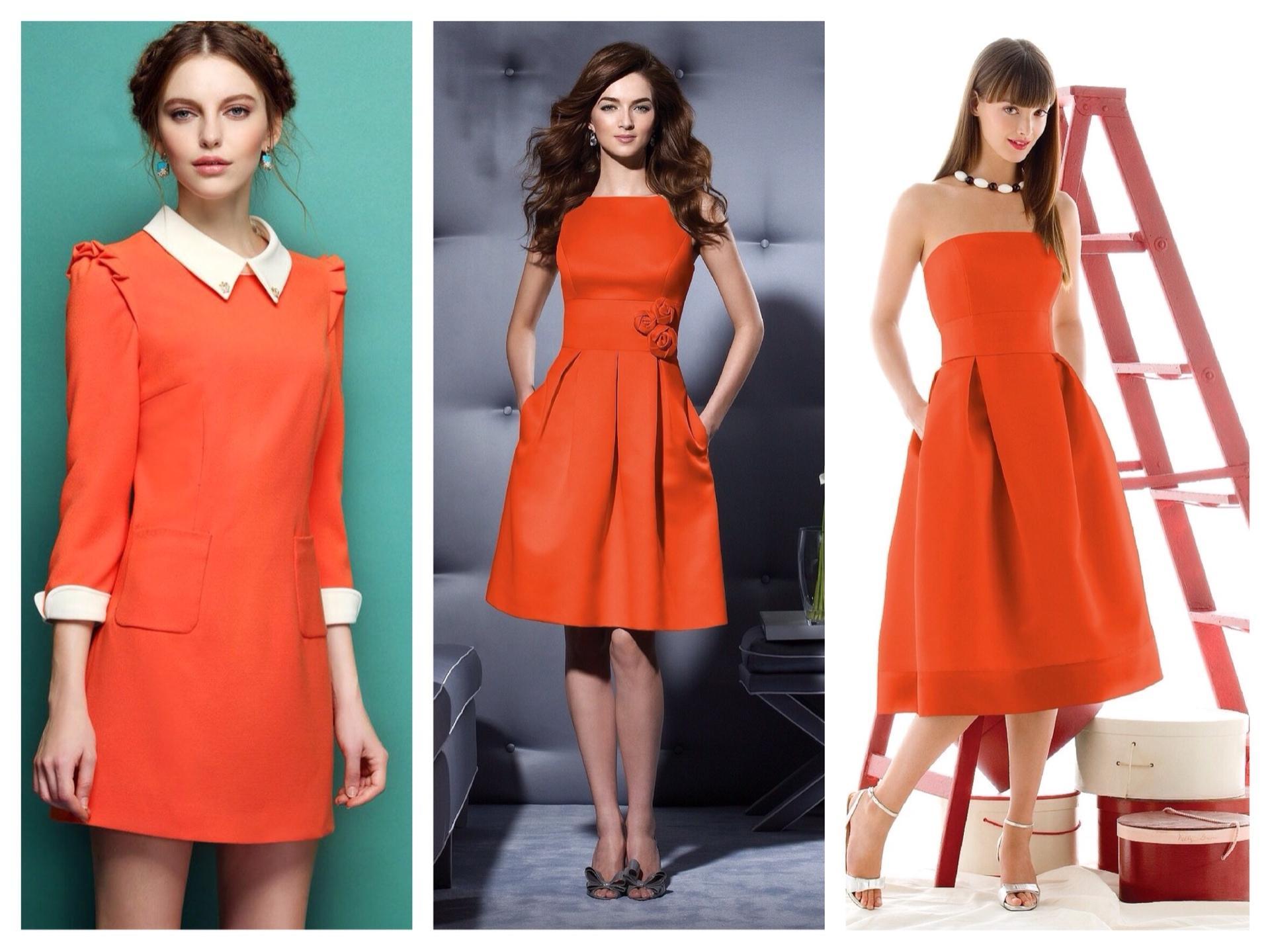 0af83f24d261740 Оранжевое платье: фото, макияж и аксессуары