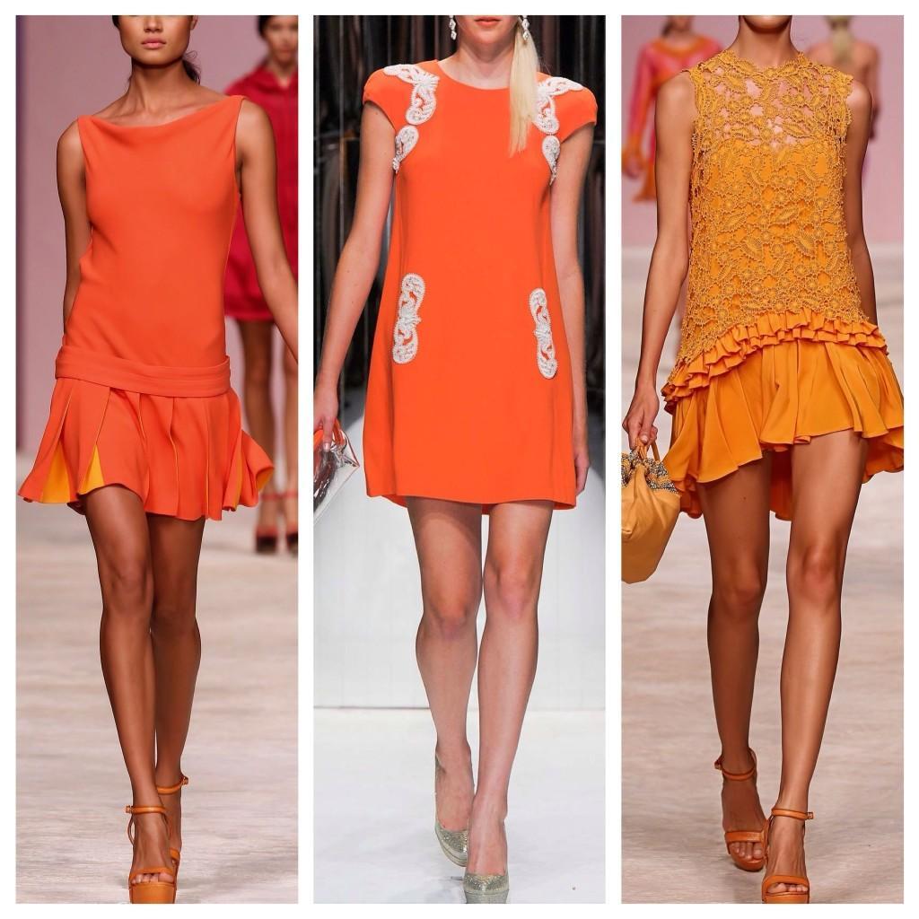 оранжевые платья на подиумах