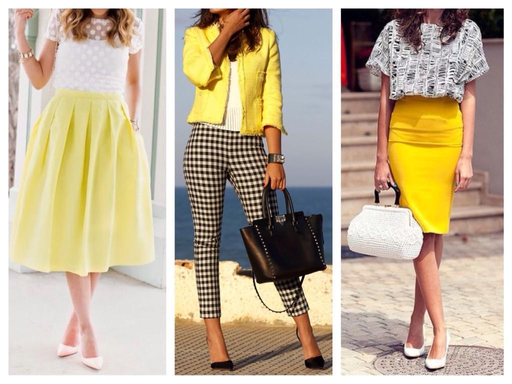 сочетание одежды желтого цвета