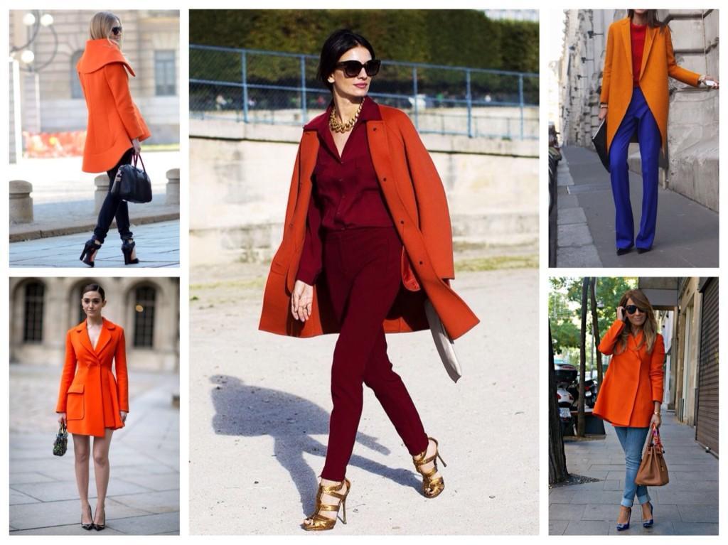 пальто оранжевых тонов
