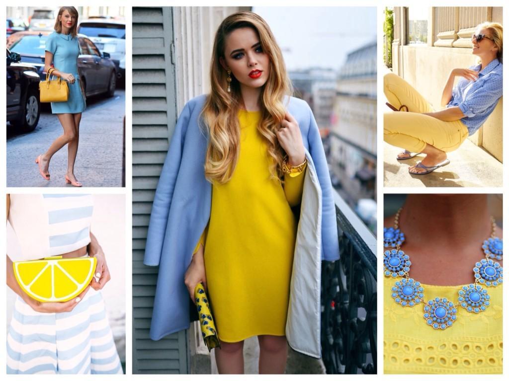 голубой и желтый в одежде