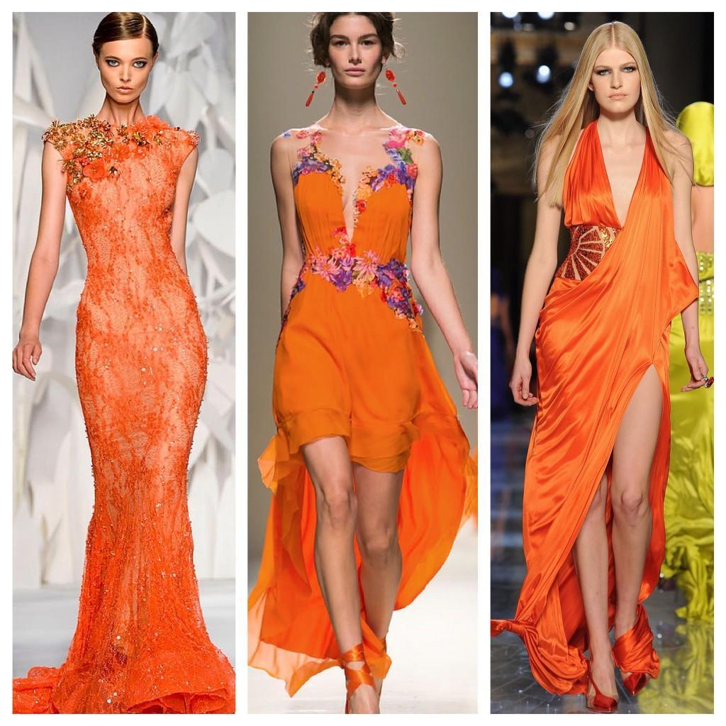 на подиумах оранжевые платья