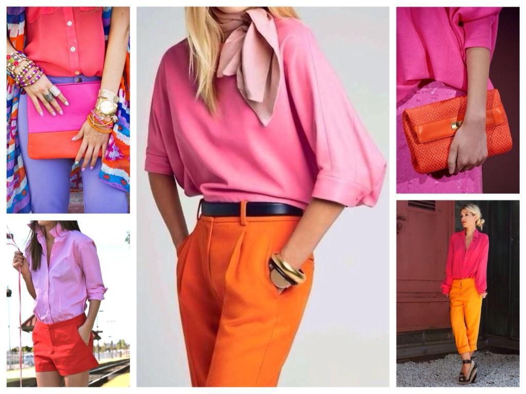 сочетание оранжевого цвета с розовыми оттенками
