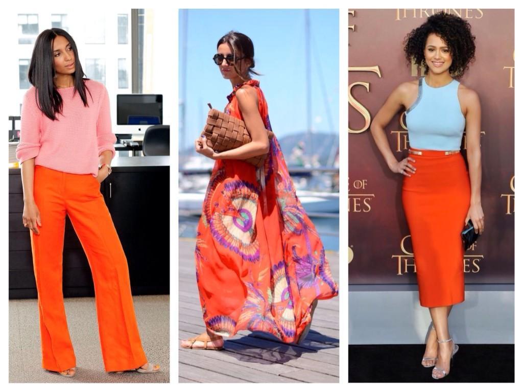 сочетание оранжевого в одежде