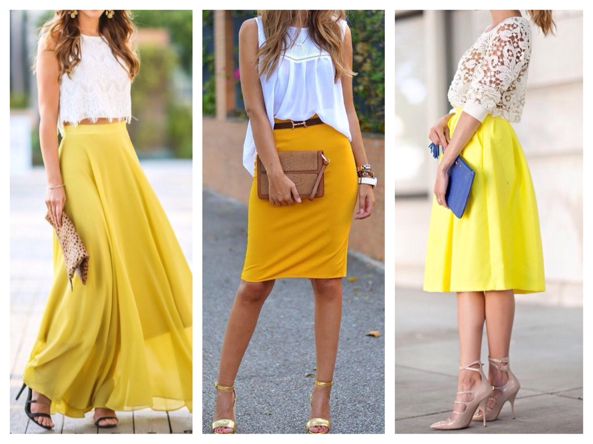 Юбка желтого цвета с чем ее носить