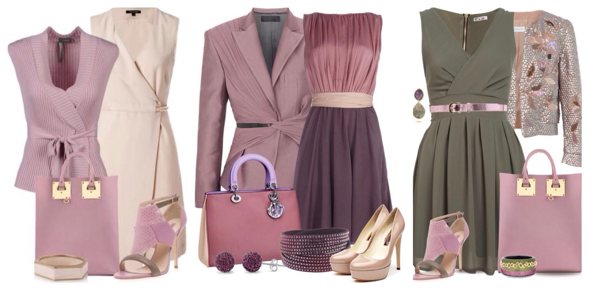Лиловое платье аксессуары