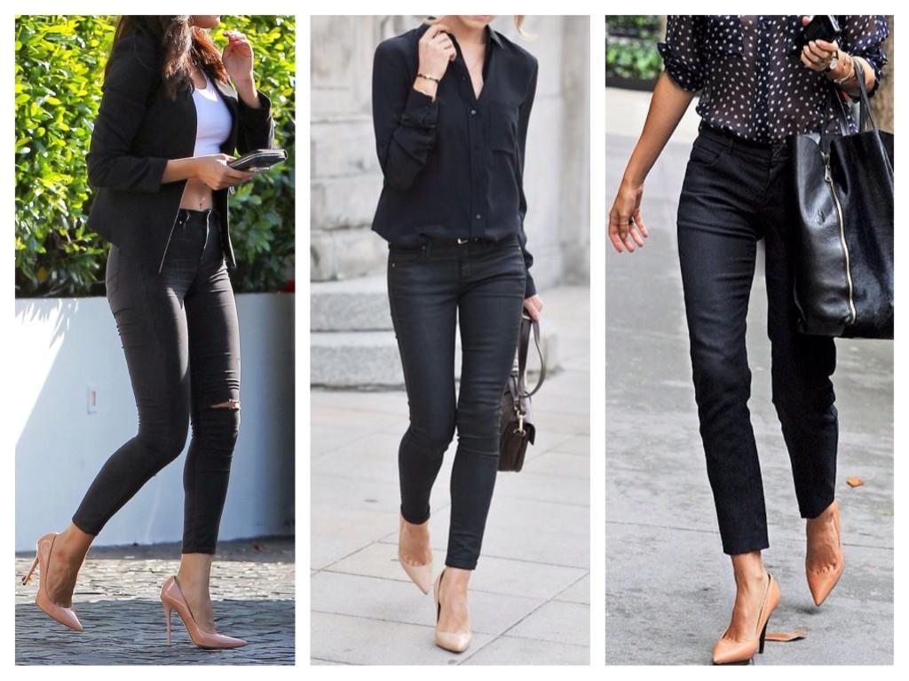 Бежевые туфли и черные джинсы