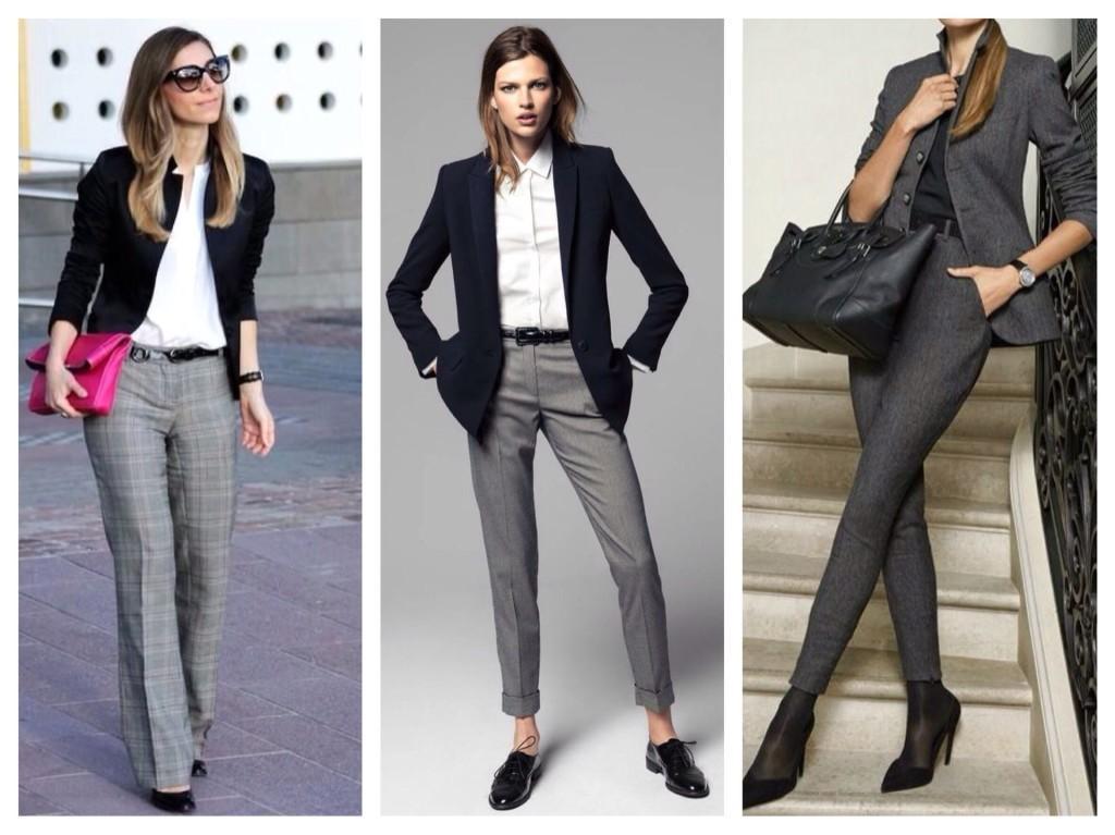 С чем одеть серые брюки женские