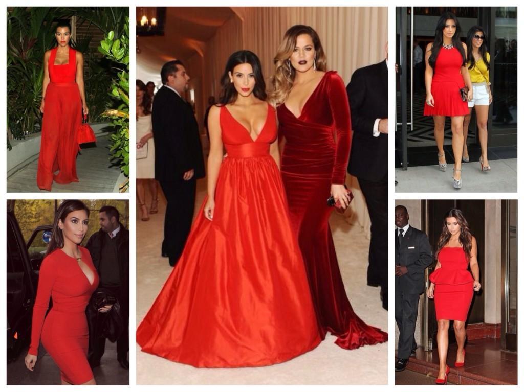 Красные платья на Сестрах Кардашьян