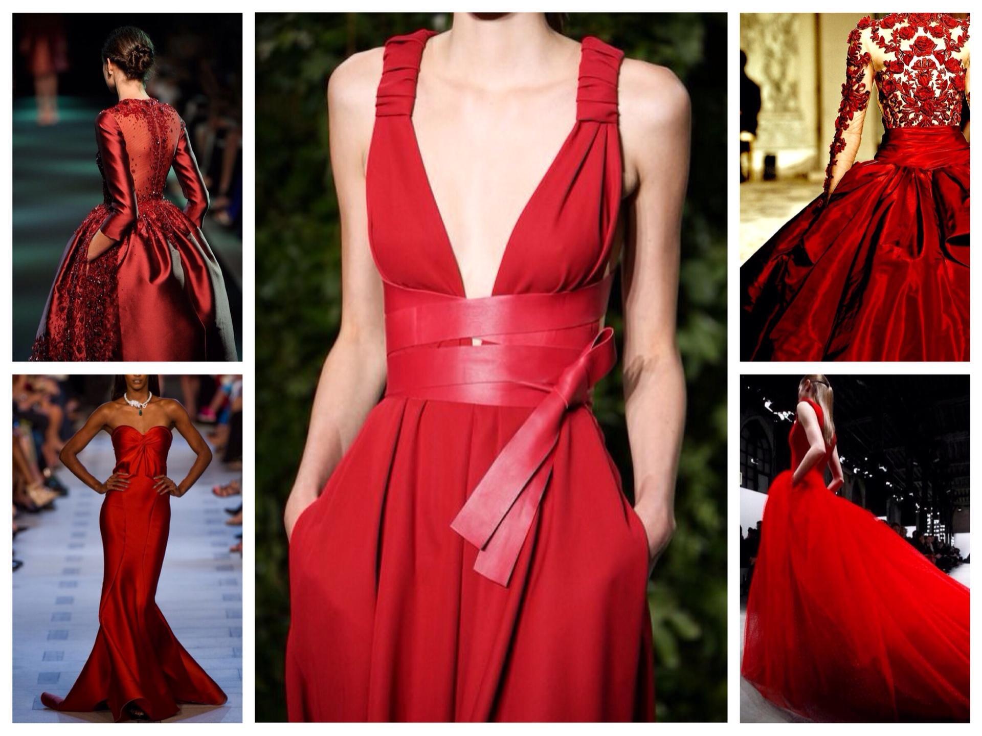 Красные платья подиум