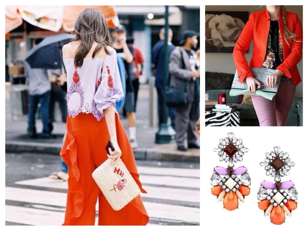 Сочетание оранжевого и лилового