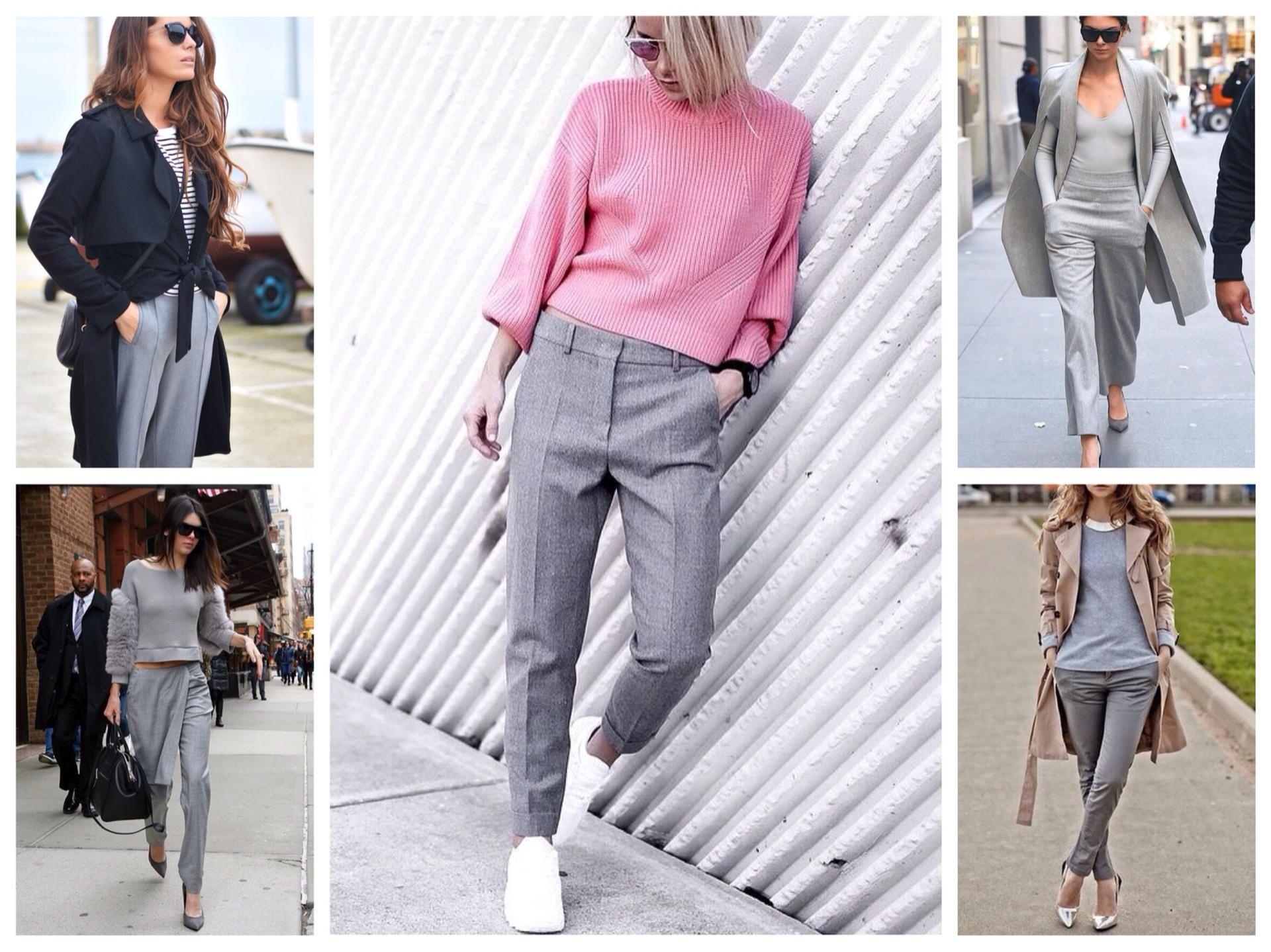 с чем носить женские серые брюки фото