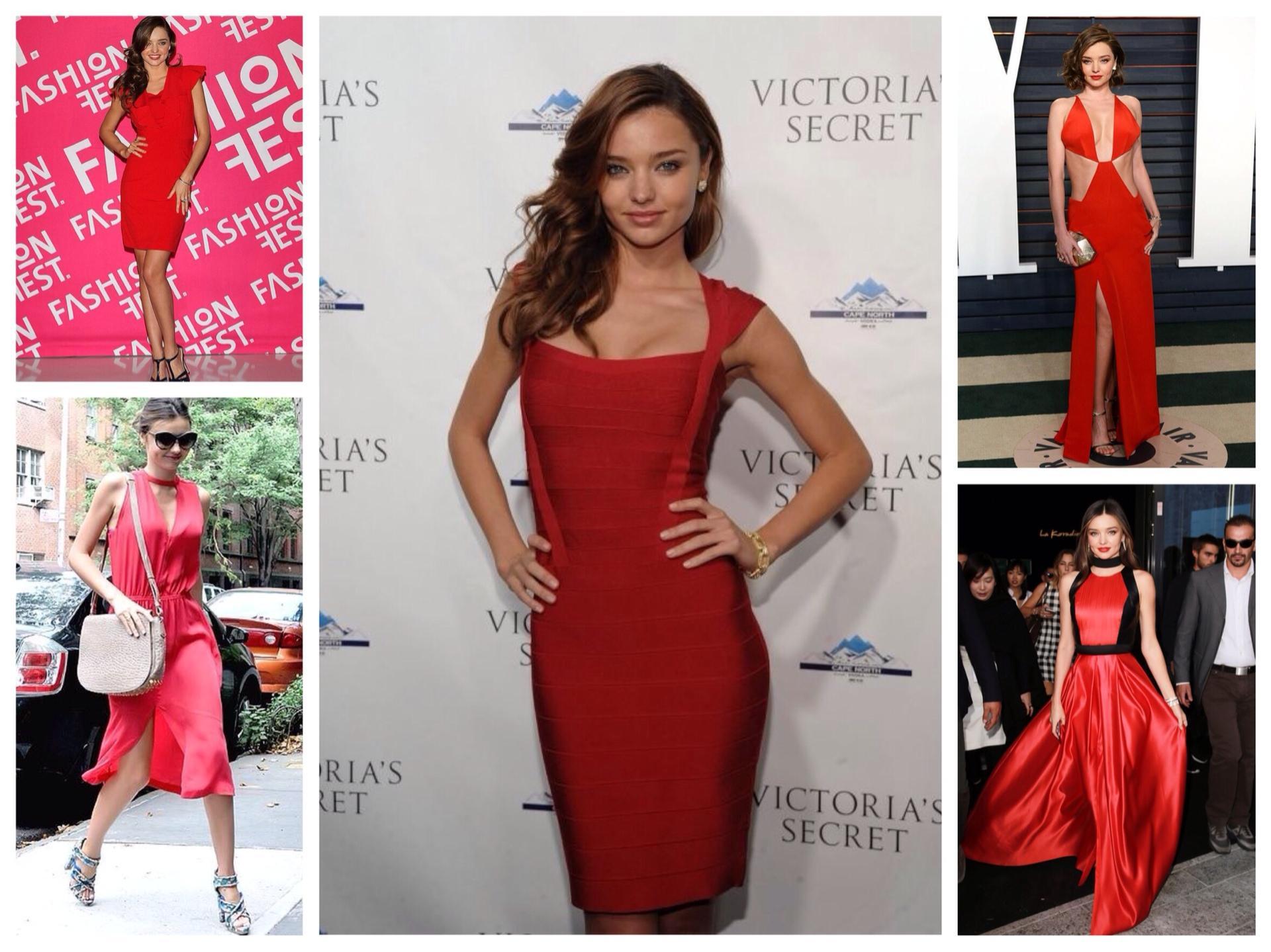 48b2393b246 Красные платья образы Миранды Керр