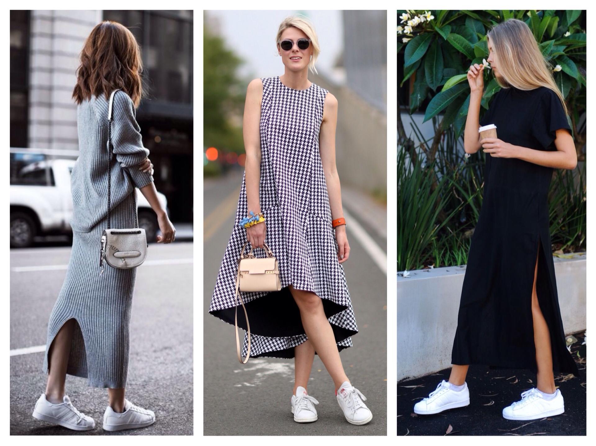 Высокие кроссовки с платьем