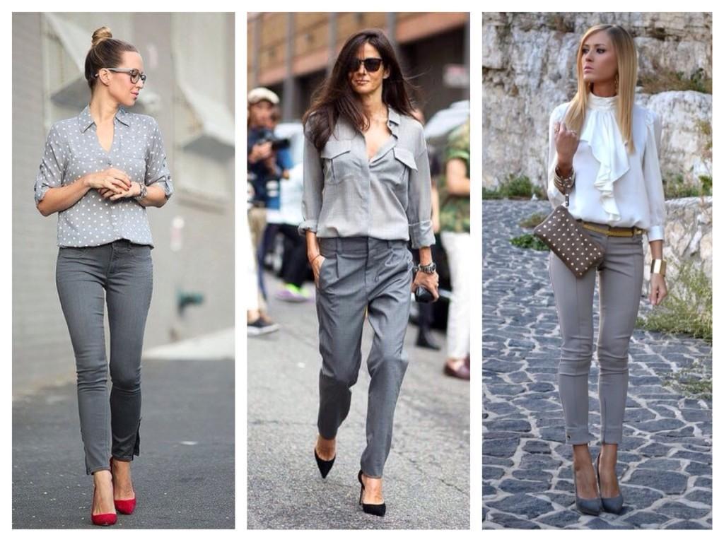 серые джинсы и брюки с блузками и рубашками