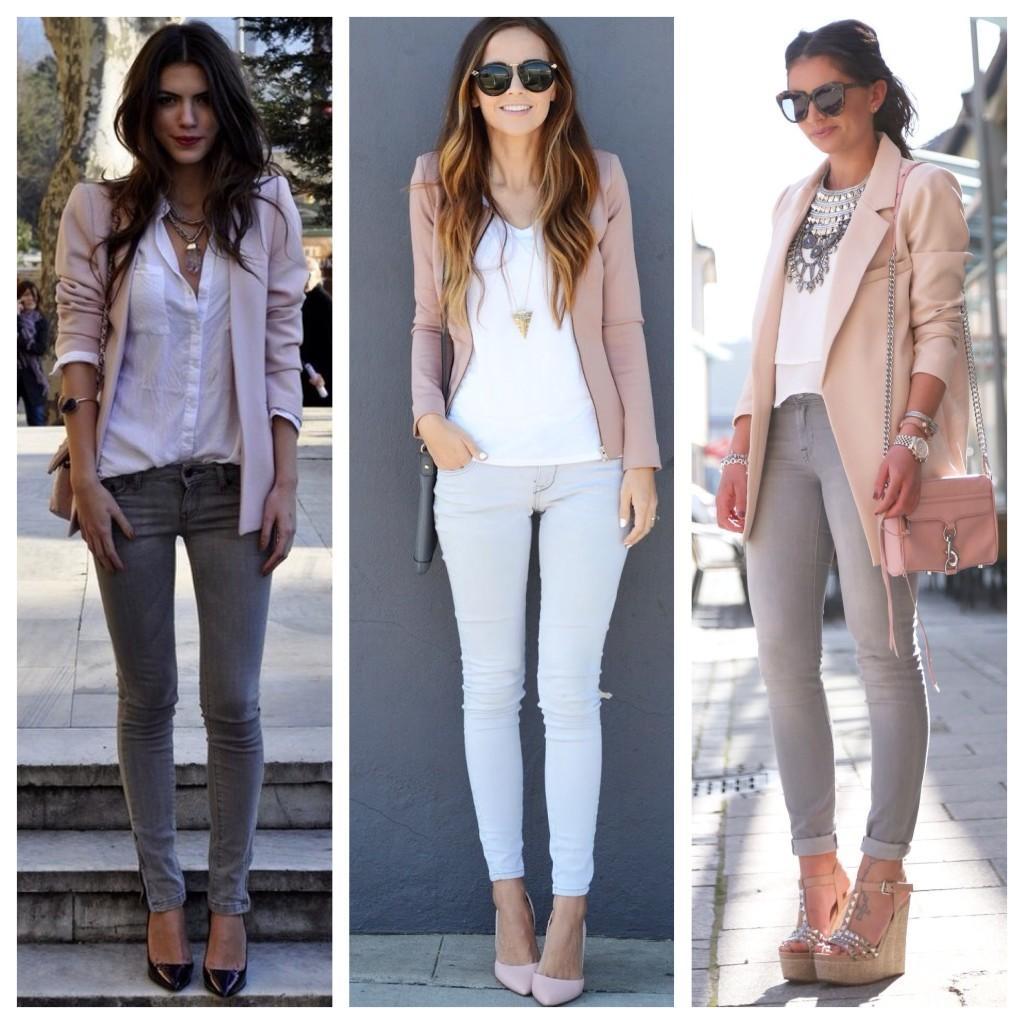 Серые джинсы с пиджаками