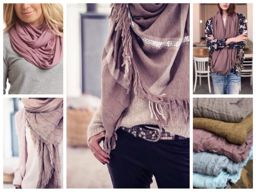 снуды и лиловые шарфы