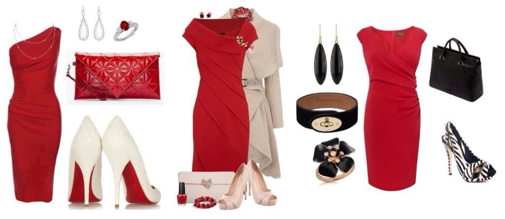 Красное платье футляр сеты