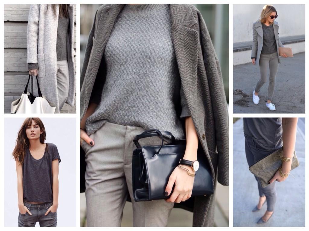 ткани серых тонов в комплекте одежды