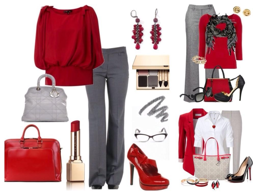 комплекты серых брюк с красным цветом