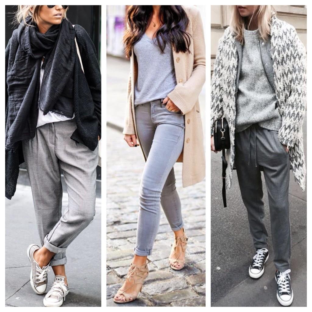 серые брюки и джинсы с кардиганами