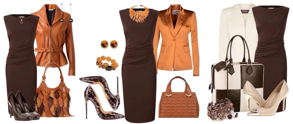 образы с платьем шоколадного цвета