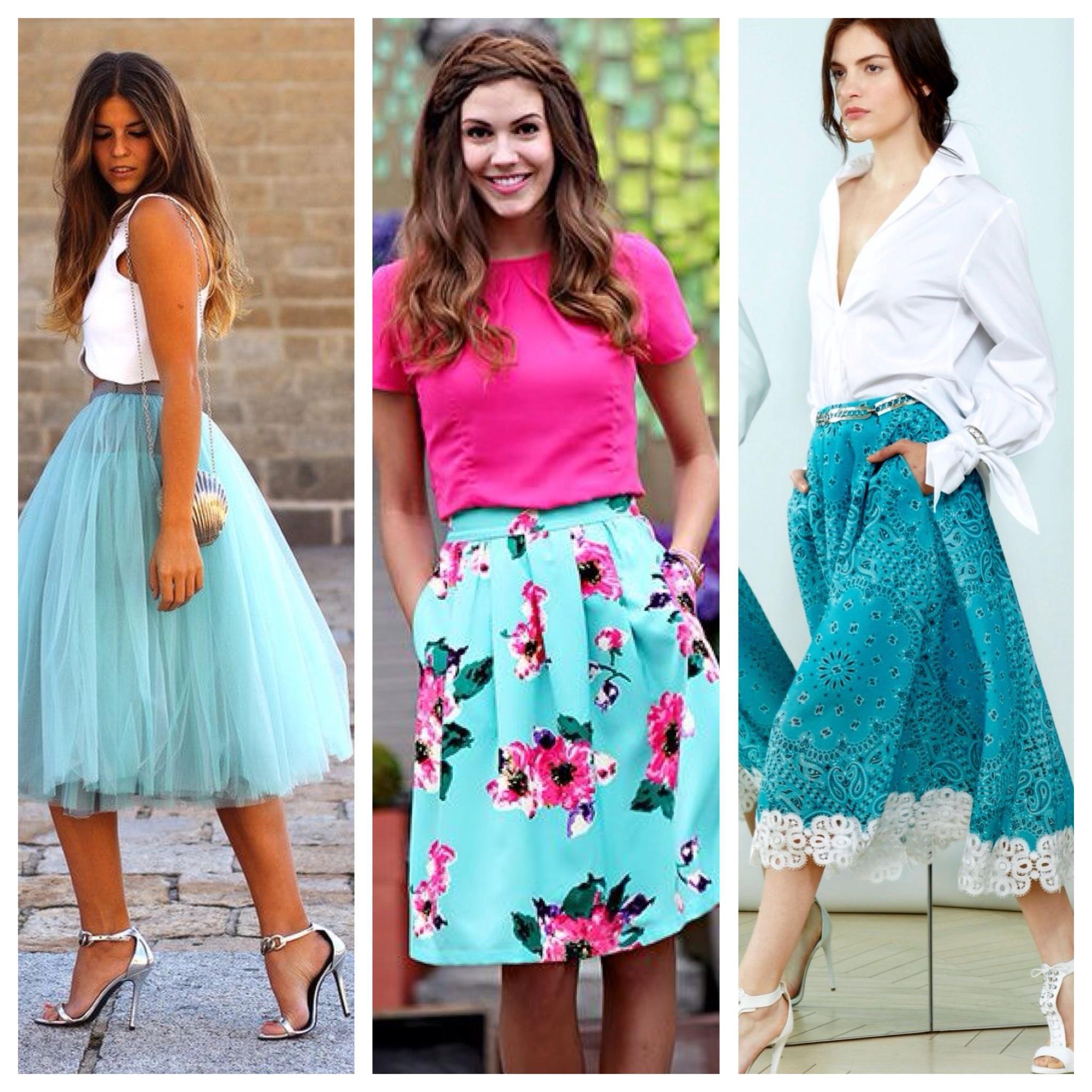 Образы с бирюзовой юбкой