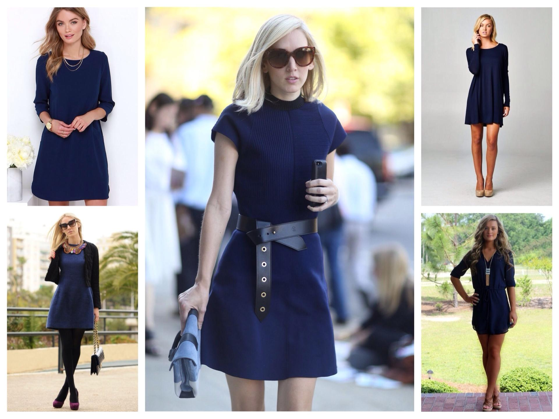 Какое платье тёмно синее или белое