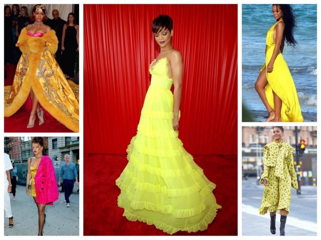 образы Рианны в желтых платьях