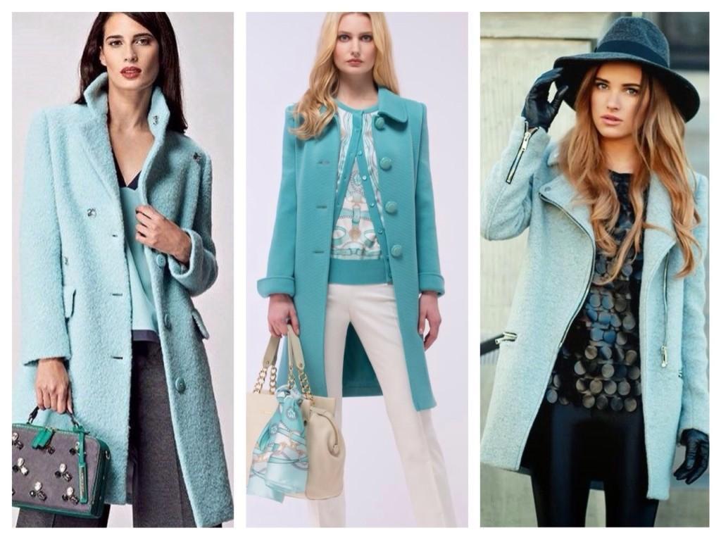 пальто бирюзового цвета