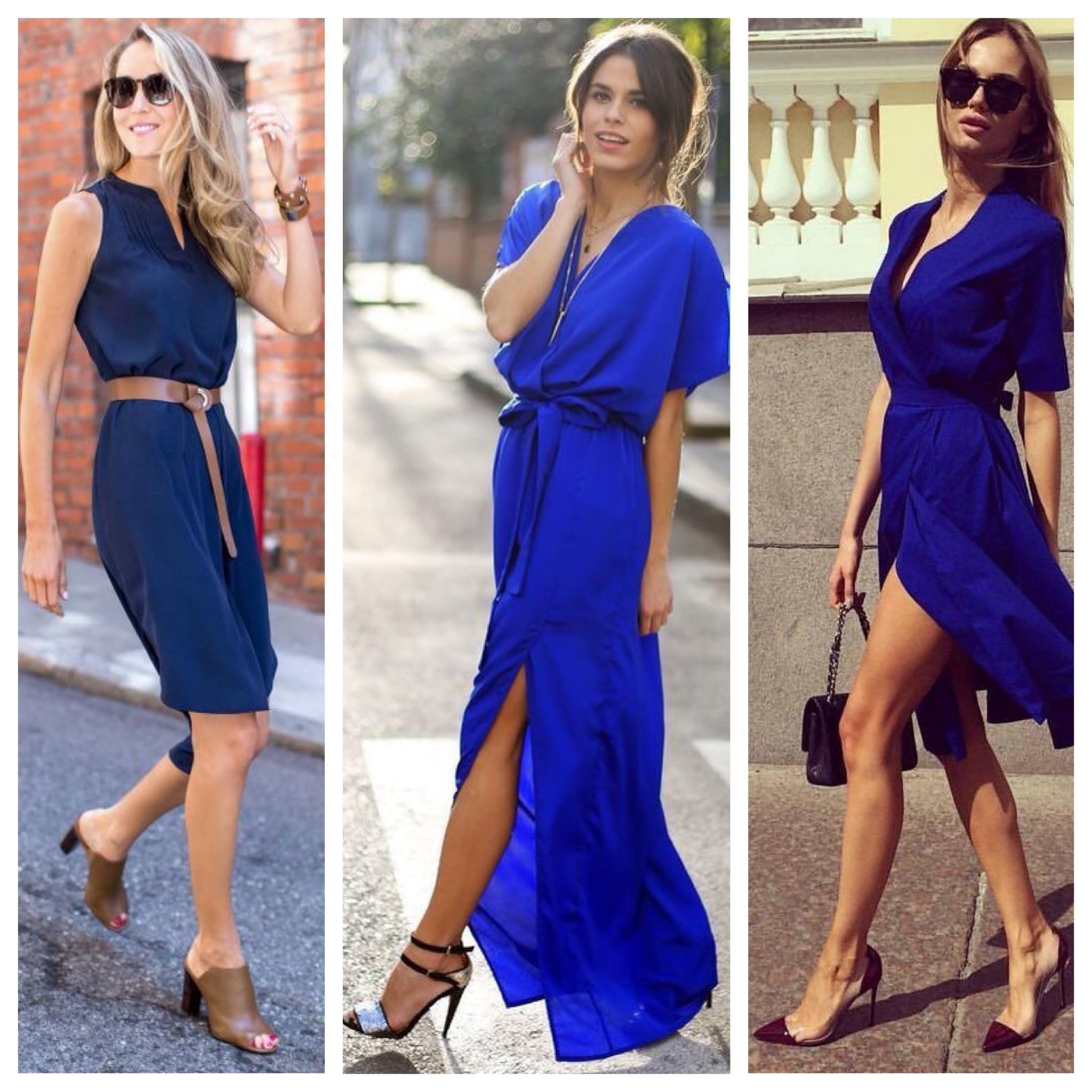 Синее платье в пол с белым верхом