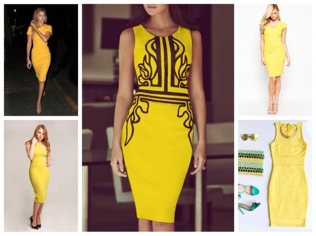 желтые платья футляр