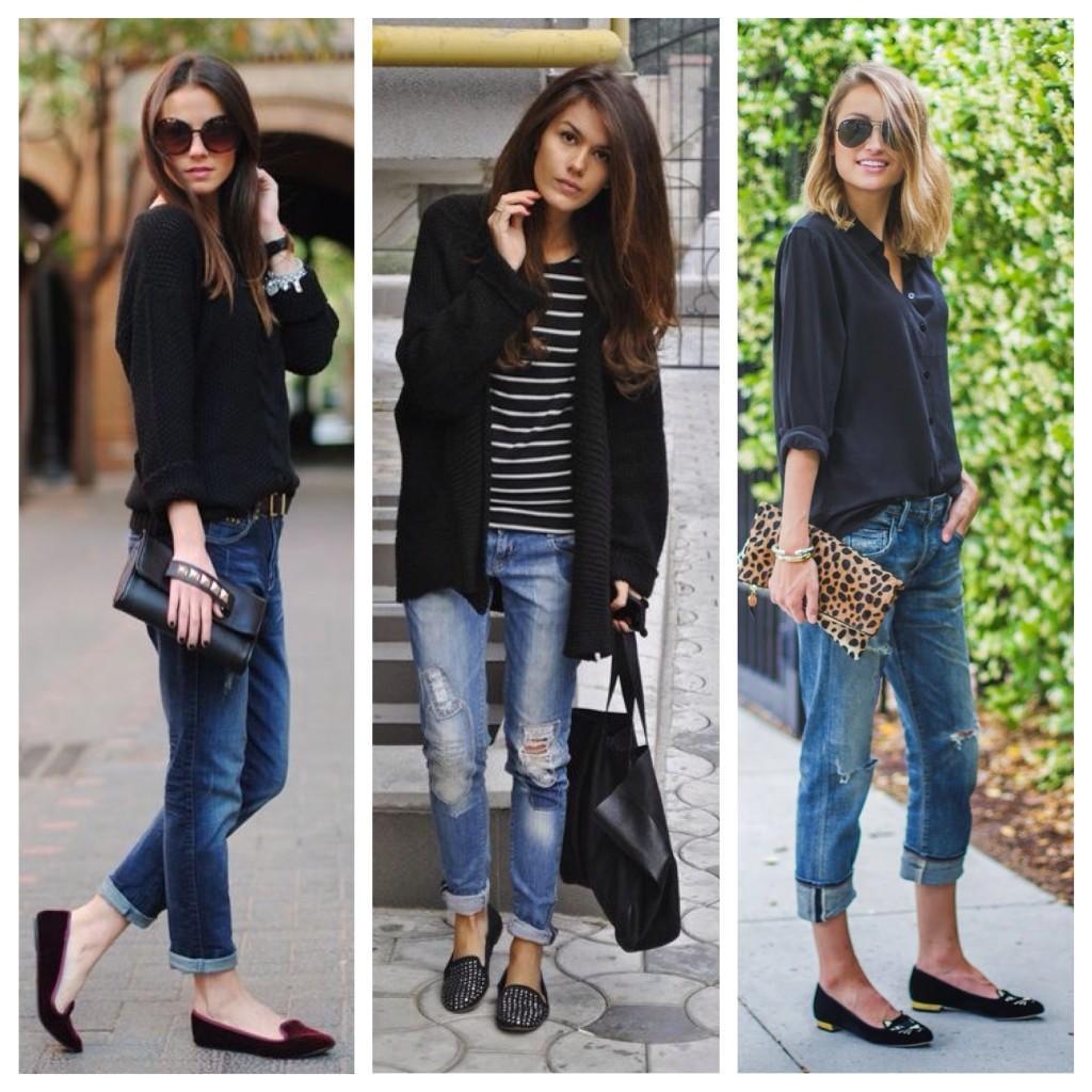 джинсы в дуэте со слиперами