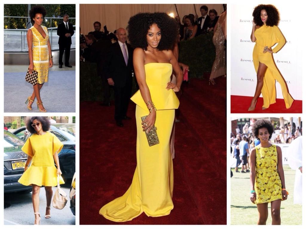 Соланж Ноулс в желтом платье