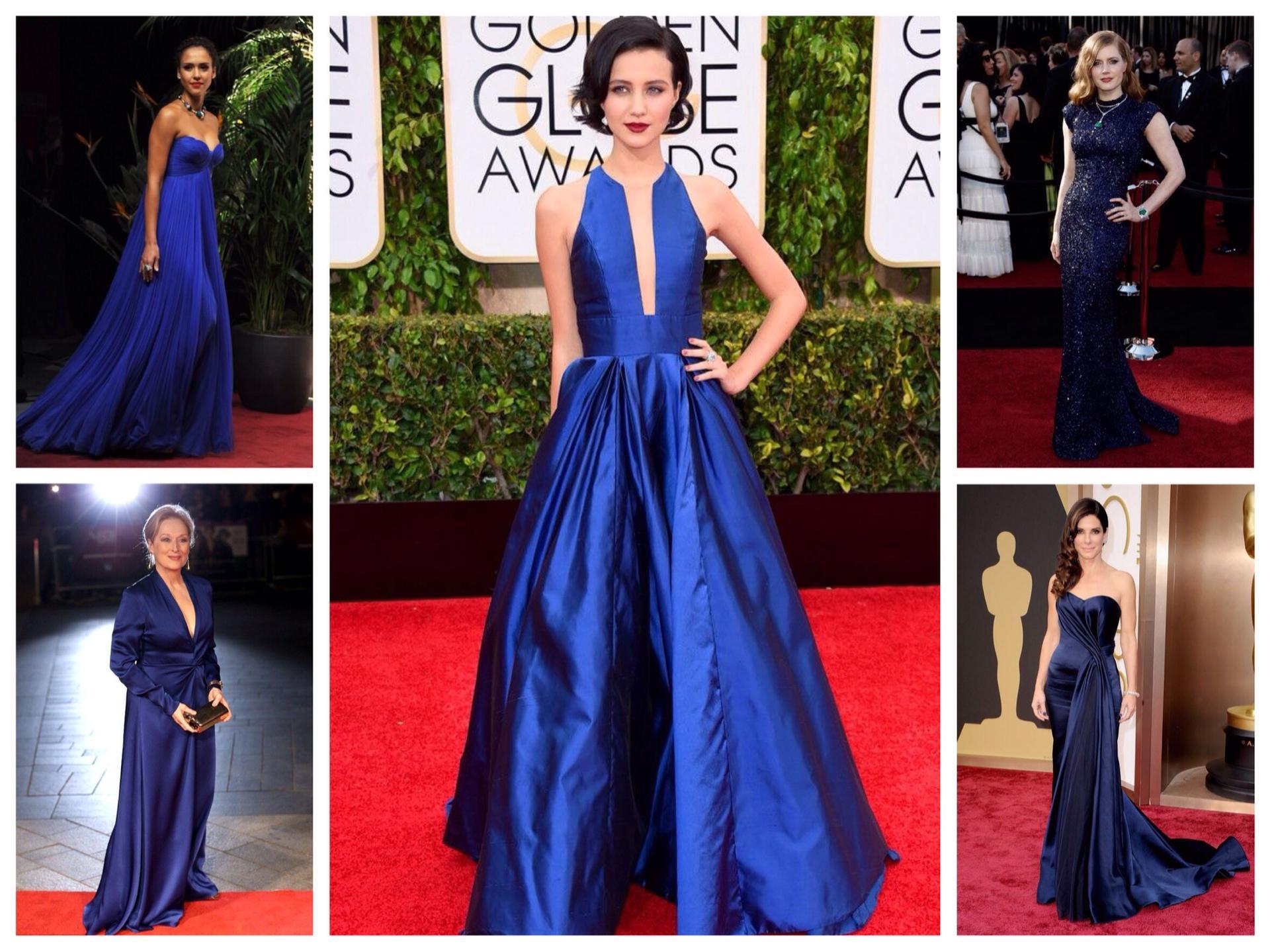 Красный клатч синие платье