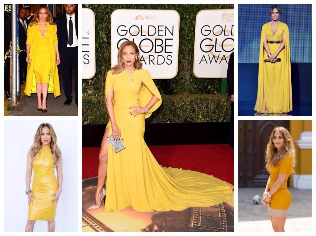 Дженифер Лопез в желтом