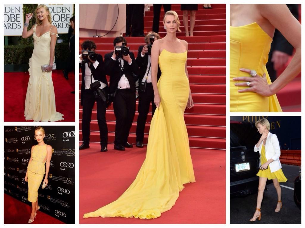 Шарлиз Терон в желтых платьях