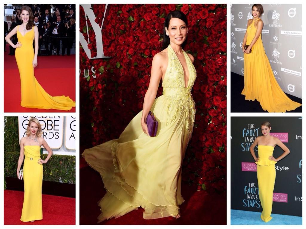 Желтые платья для красной ковровой дорожки