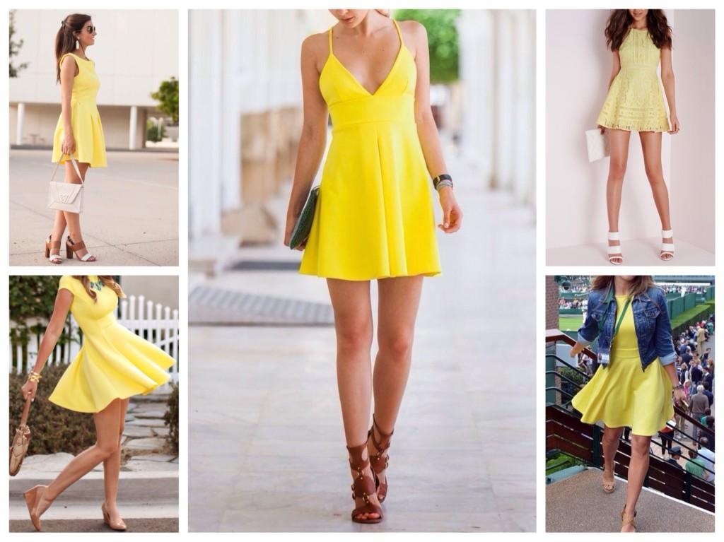 Желтые платья с расклешенной юбкой