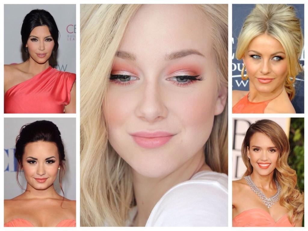 Какой макияж подходит к коралловому платью