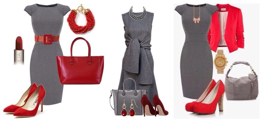 красные аксессуары под серое платье