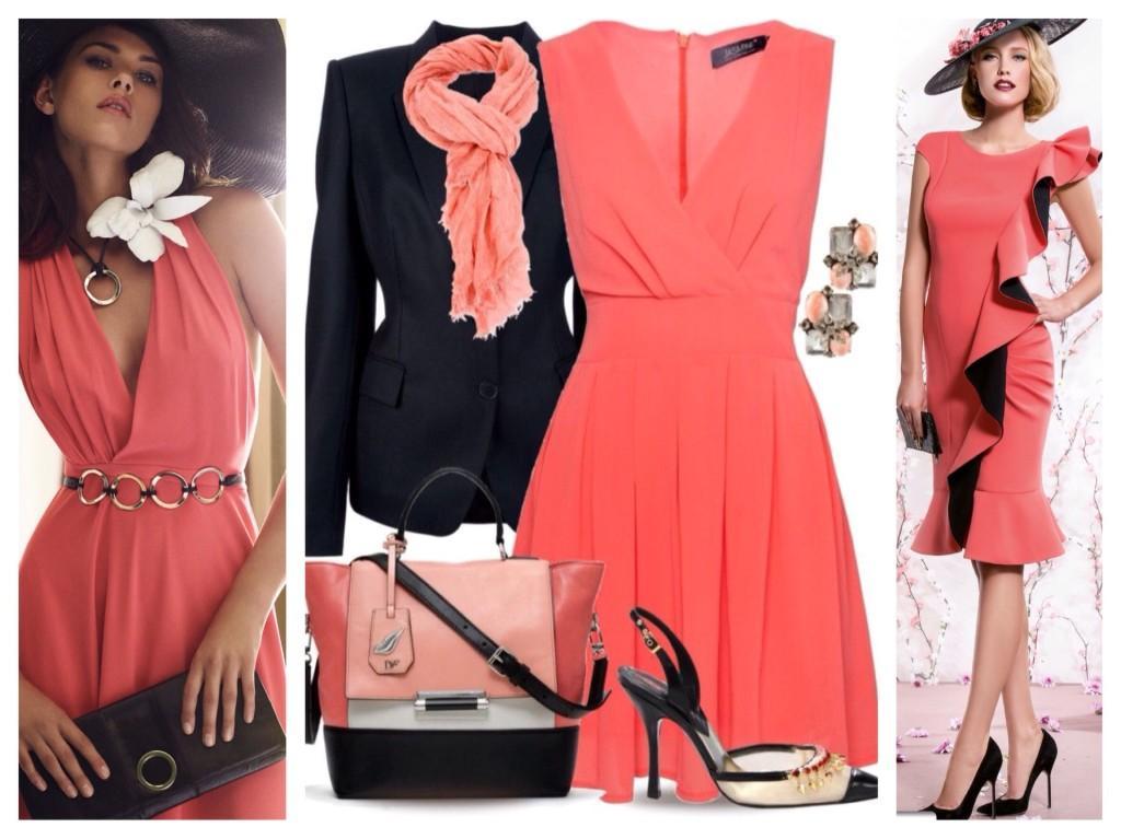 Аксессуары для платья кораллового цвета