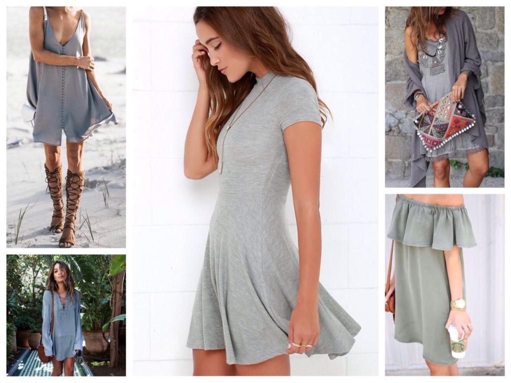 серые платья для лета