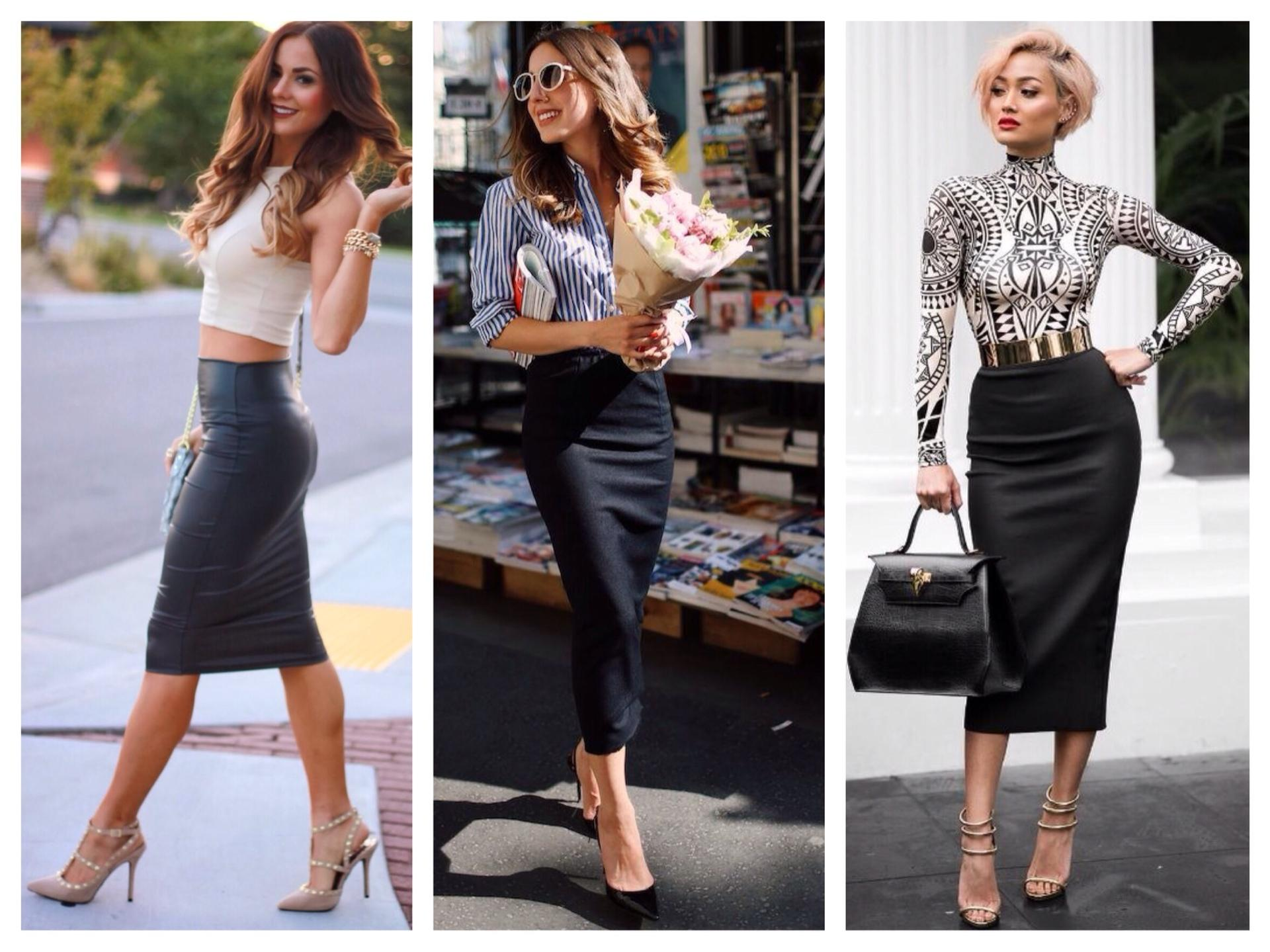 Блузка и черная юбка карандаш образы