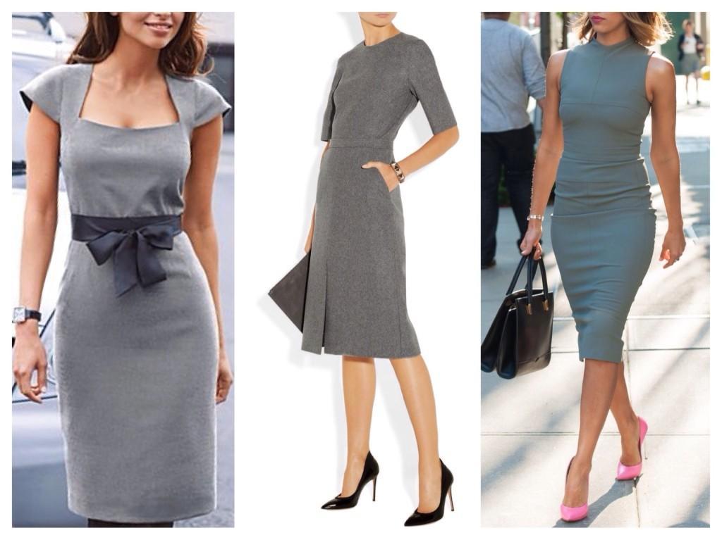 деловые образы в сером платье