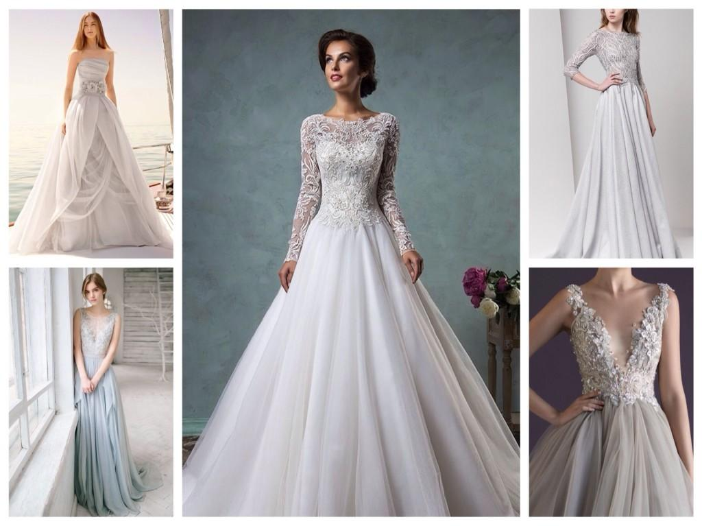 серые свадебные платья